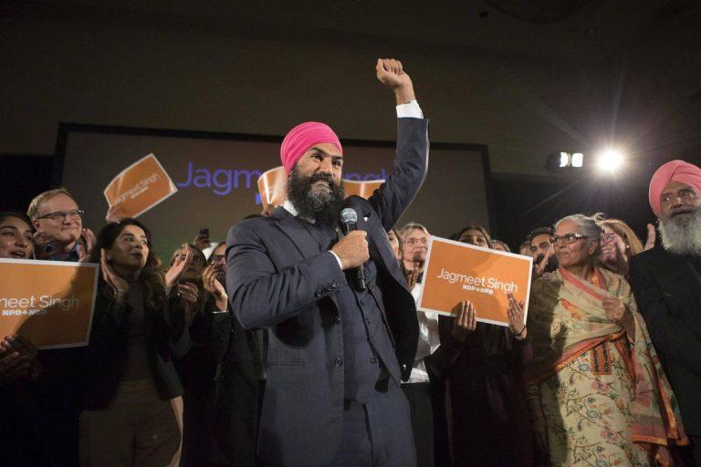 Jagmeet Singh celebrating victory in NDP leadership race
