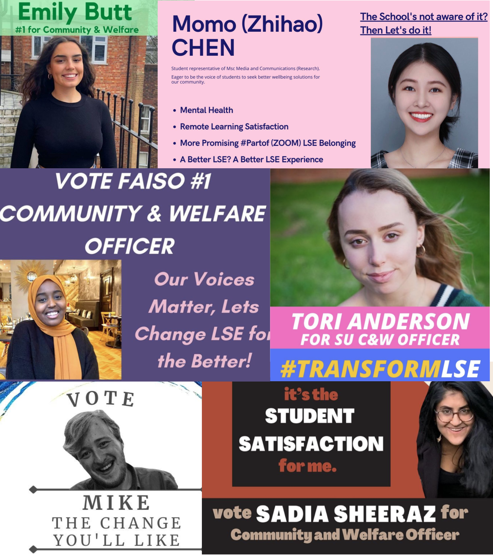What differentiates the Community and Welfare Officer candidates running in the SU's election?